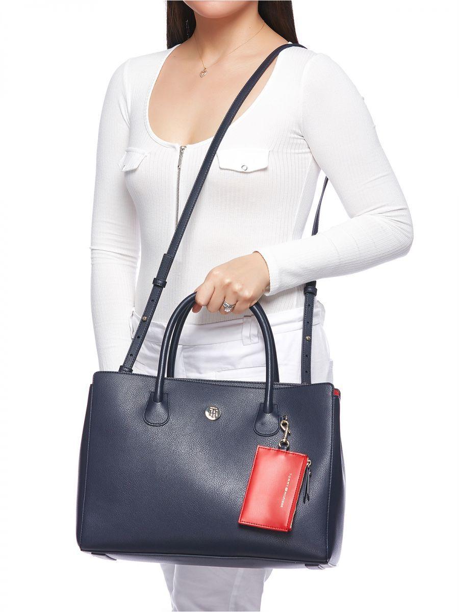 تومي هيلفيغر حقيبة للنساء اسود حقائب كبيرة توتس Shoulder Bag Bags Top Handle Bag