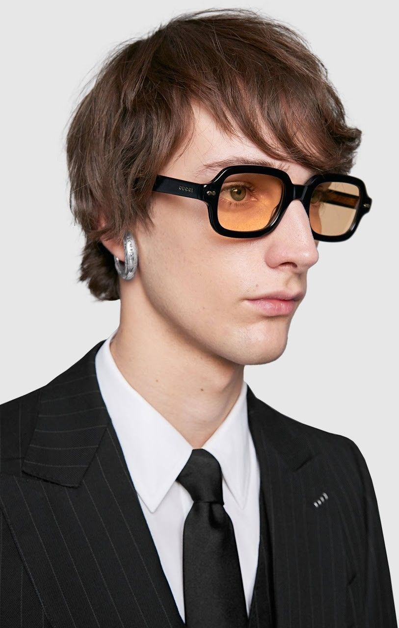 1218b5f3d9d Black and clear acetate temples—created using a special construction that  combines the two layers of acetate
