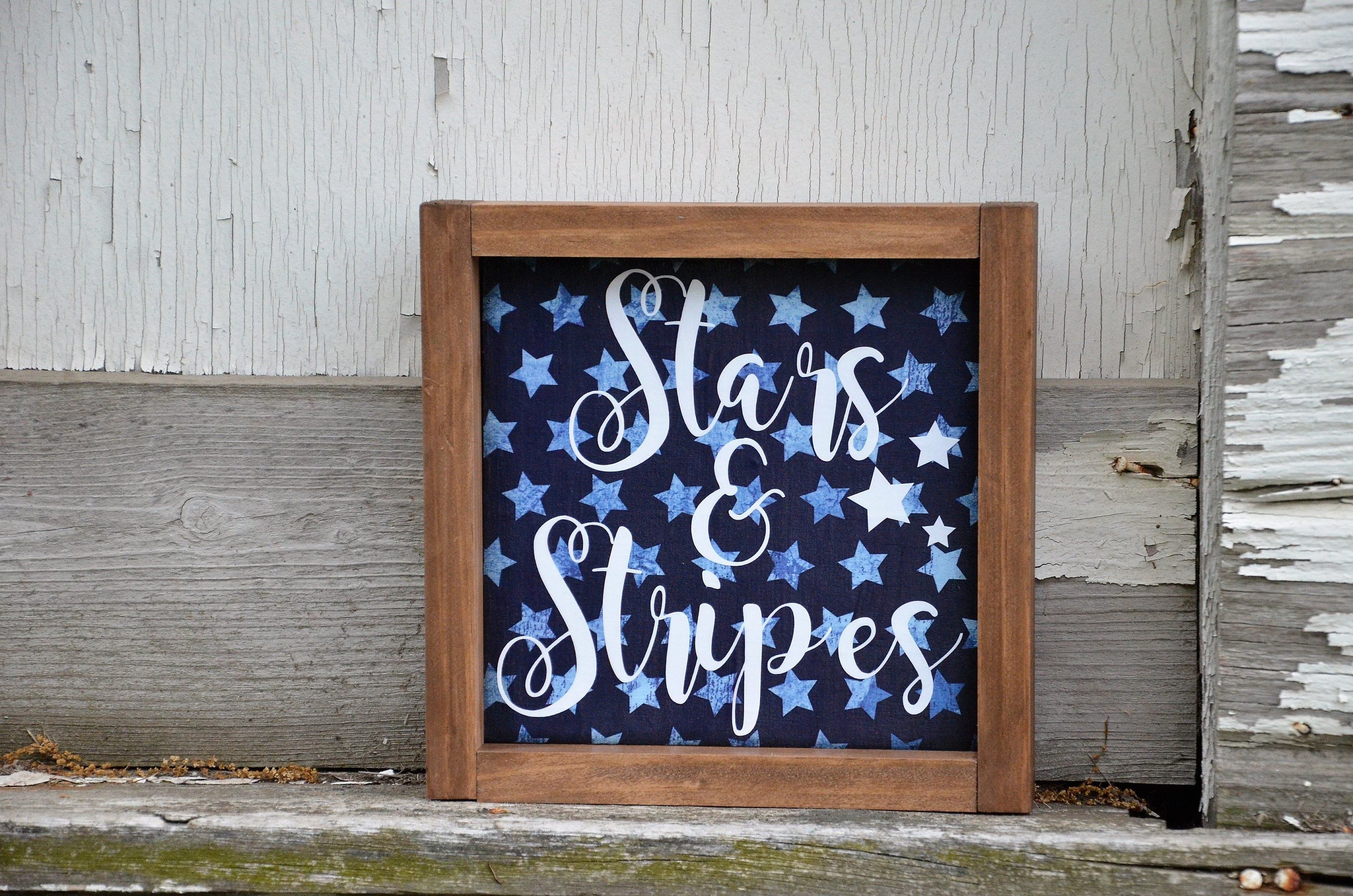 Stars & Stripes Wood Framed Farmhouse Style Wood Sign