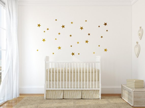 gold vinyl wall decal sticker wall art stars - gold star decal set