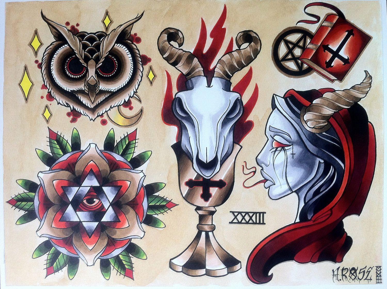Occult Tattoo Flash | KYSA #ink #design #tattoo | Tattoos ...