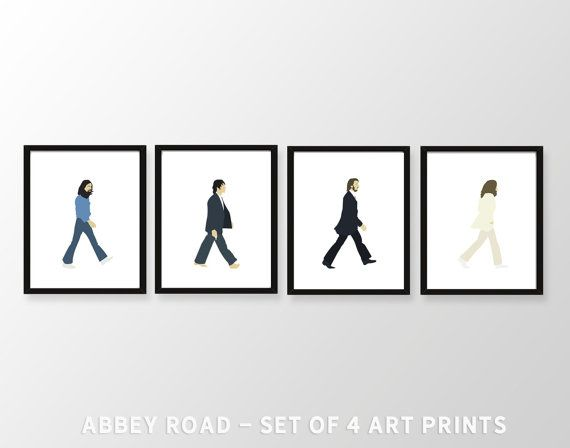 BEATLES ABBEY ROAD X 4 Minimalist Band Poster Music Minimal Lennon McCartney