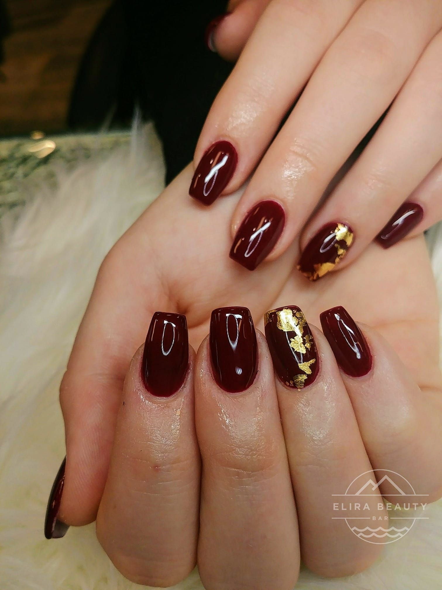 Deep Red Nails With Gold Flakes Deep Red Nails Red Nails Red And Gold Nails