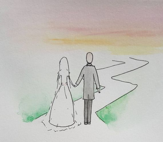 Lovely illustrated wedding invitations