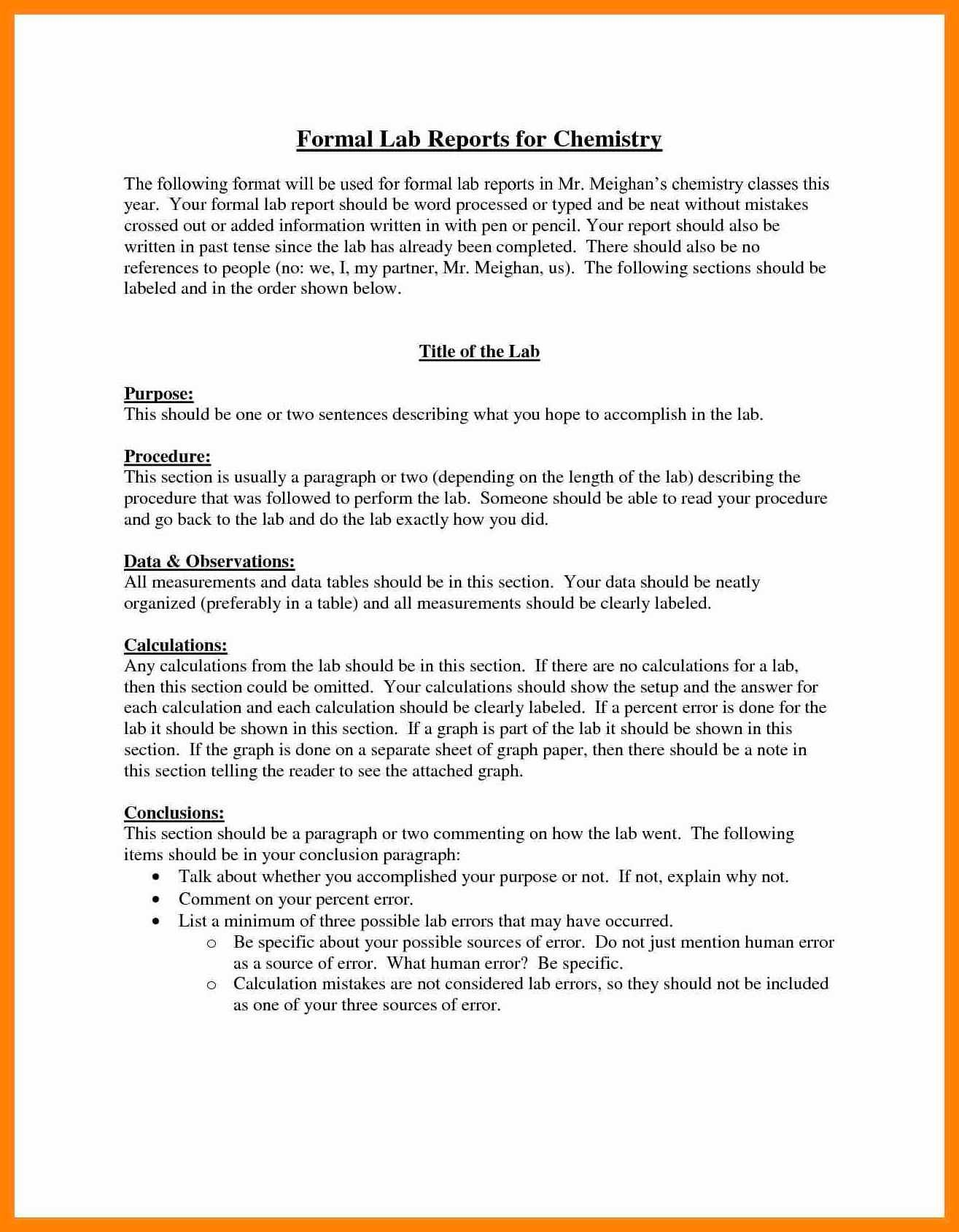 Lab Report Example - Lab reports ought to be meticulous. In order to be certain that you will receive the lab report you're expecting for you want to supply ...