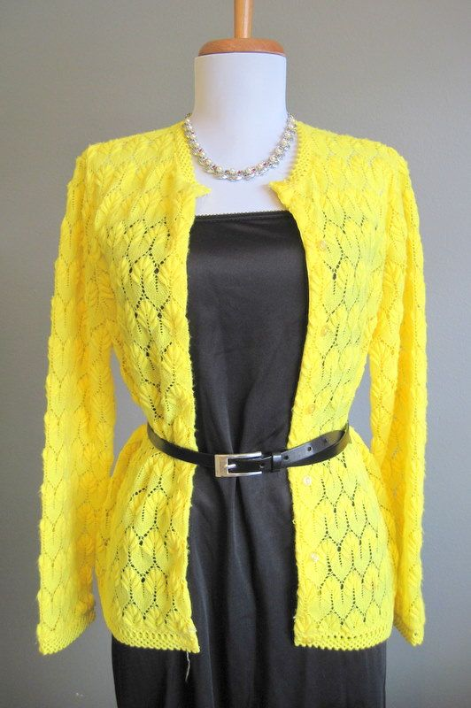 1950s Bright Yellow Lace Cardigan Sweater Large from In the ...