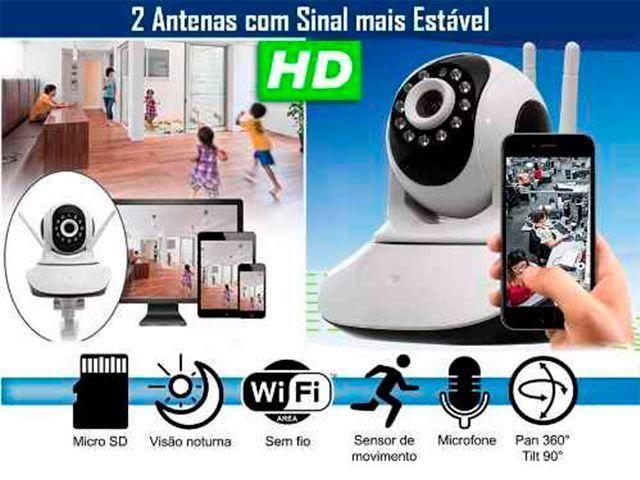 Camera Ip Sem Fio Hd 720p 1 3 Mp Wi Fi Noturna Gira 360 Graus