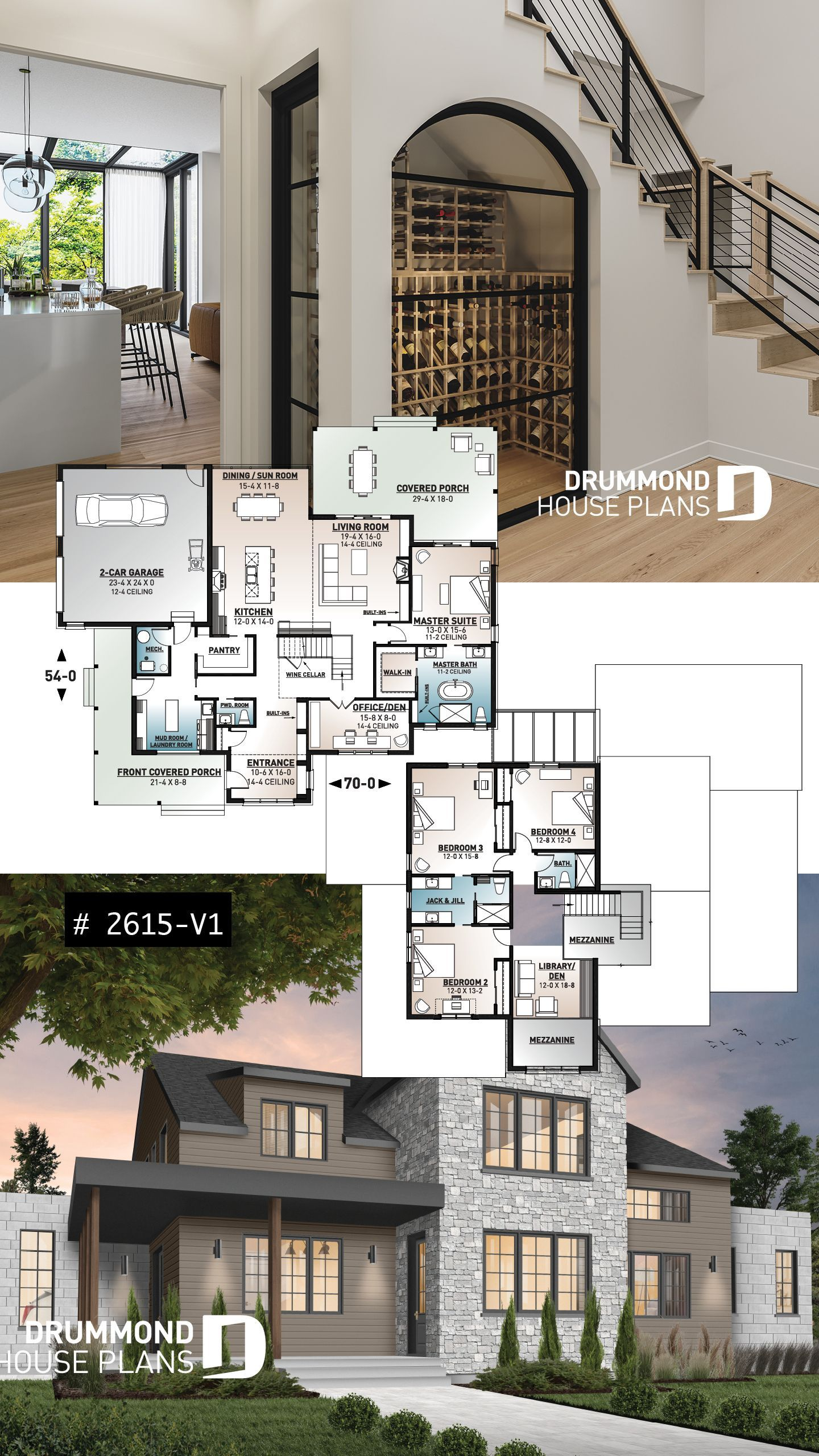 House Plans With Wine Cellar House Plans Modern Farmhouse Plans Modern House Plans