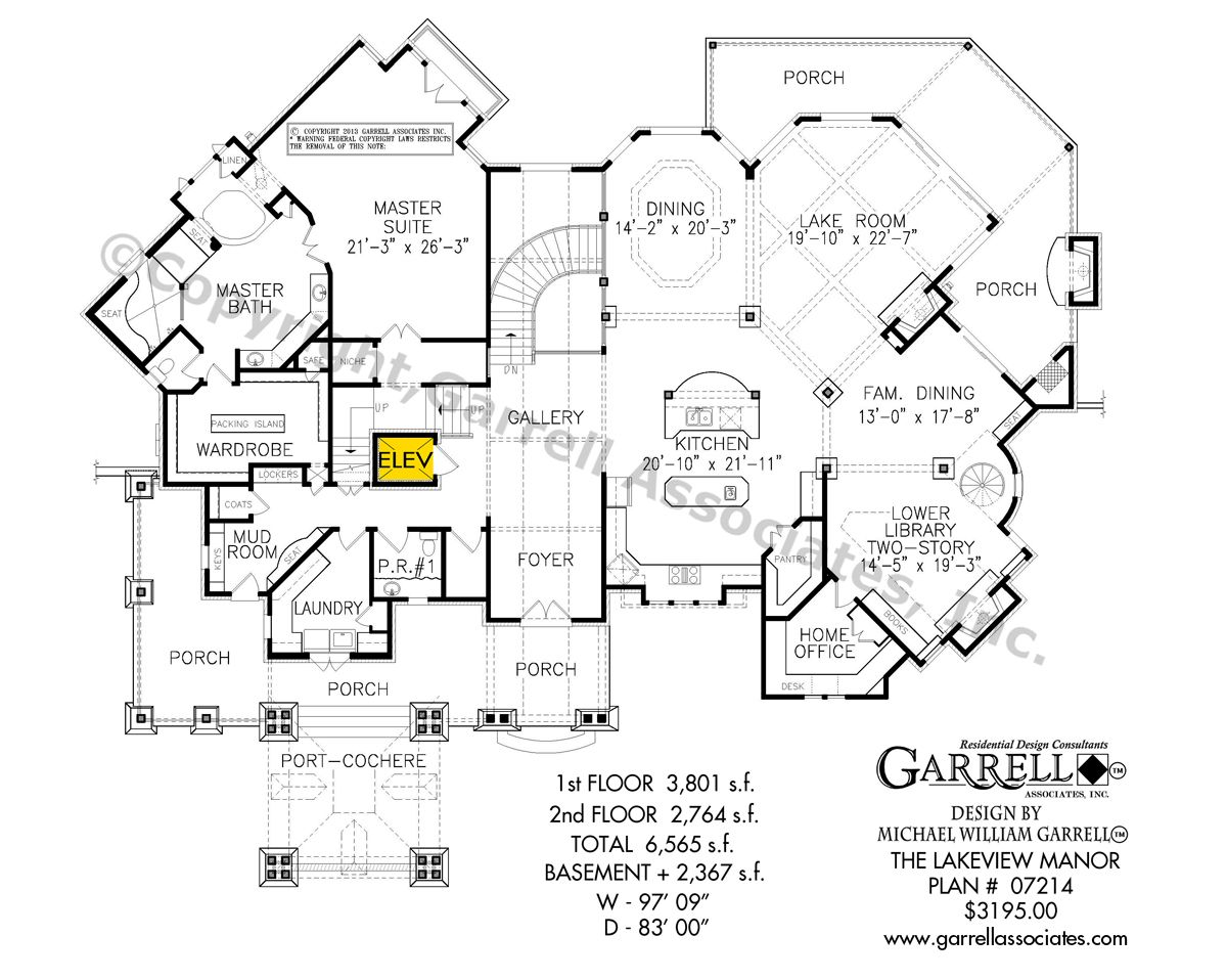 Lakeview Manor House Plan 07214, 1st Floor Plan, Craftsman House ...