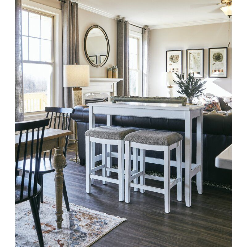 Edip 48 5 Console Table And Stool Set In 2020 Gorgeous Sofas White Sofa Table Bar Table And Stools