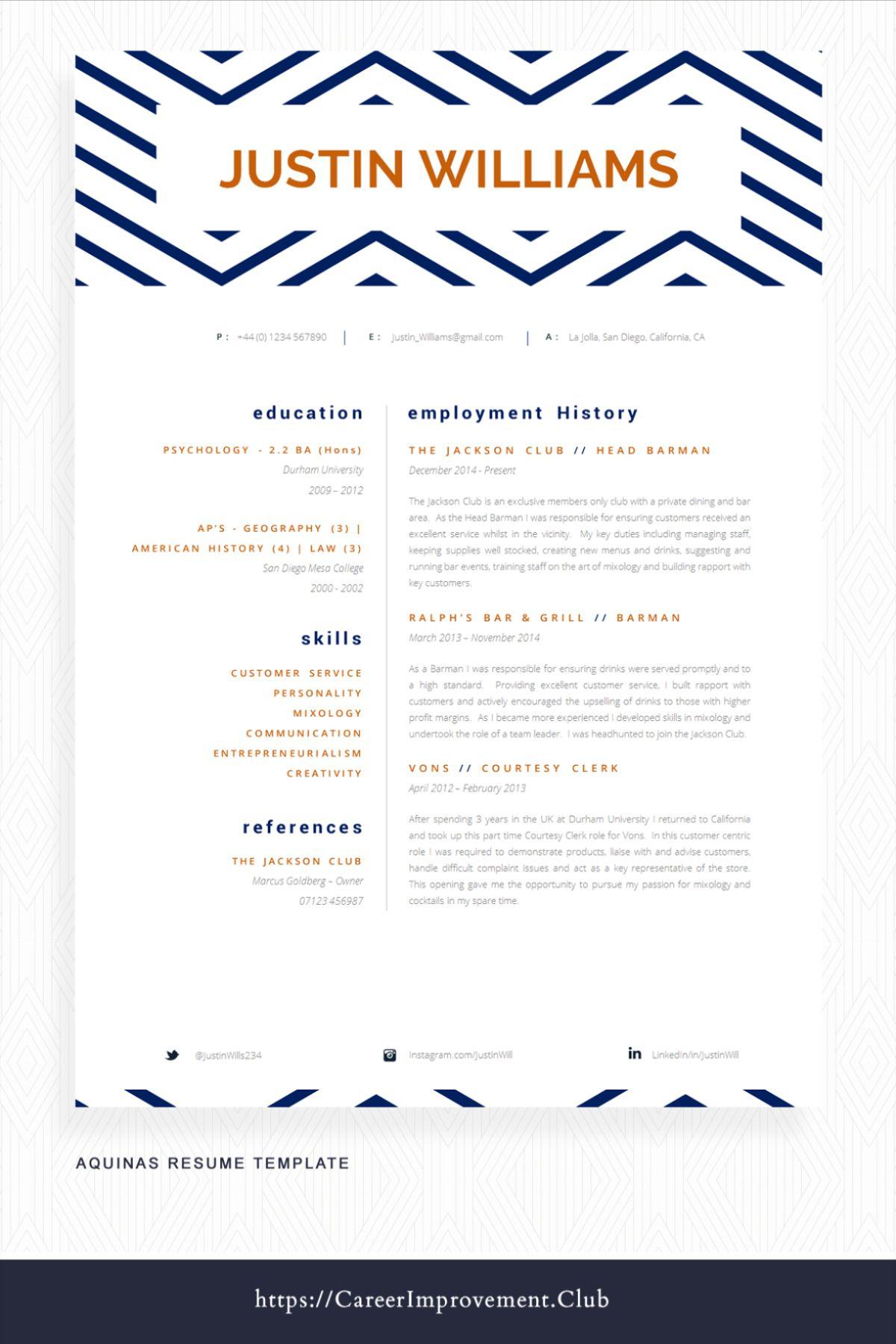 Hospitality resume example cv template creative cv
