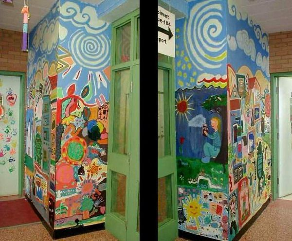 Colorful Mural School Wall Murals For Schools Part 95