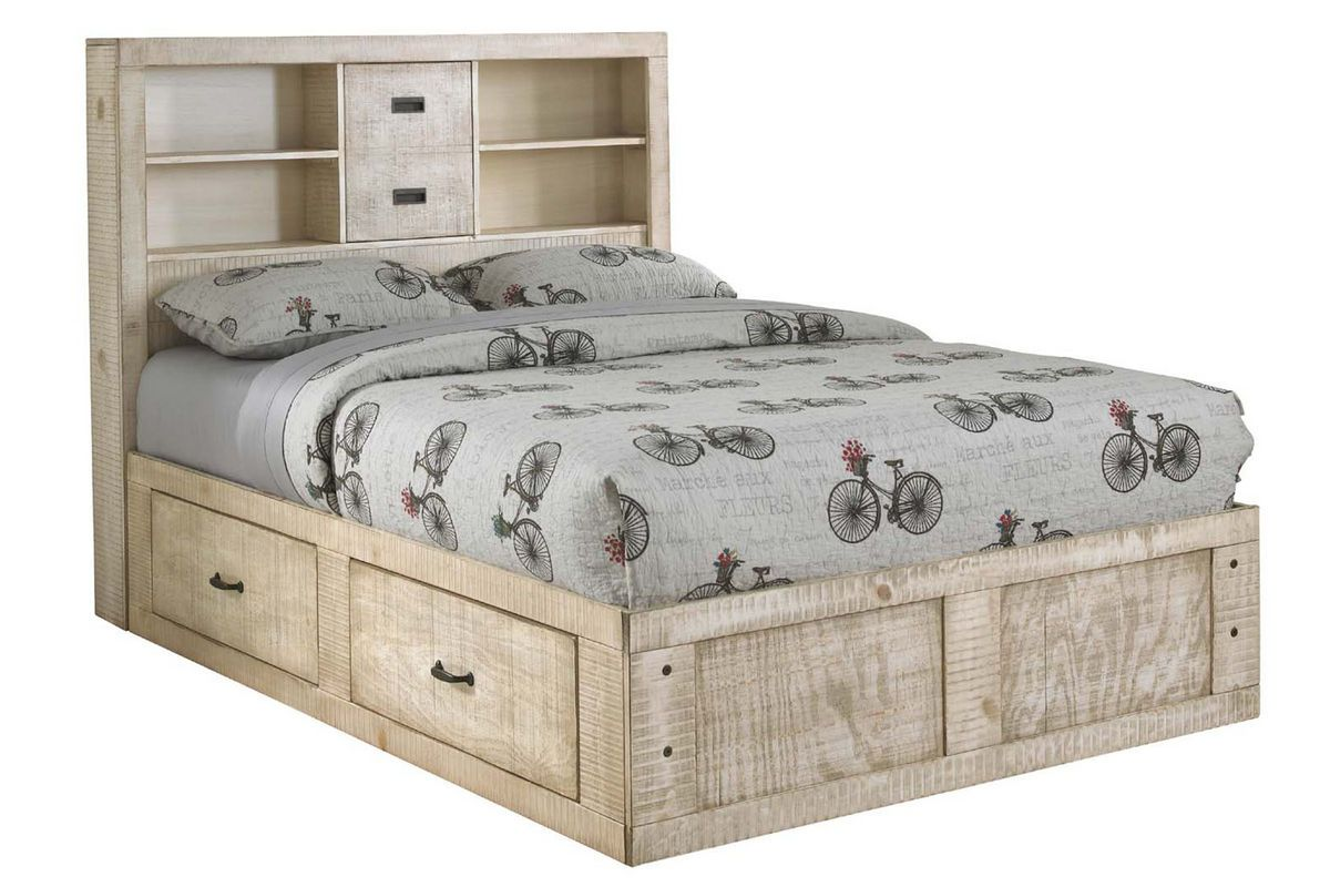 White Full Captains Bed Full bed with storage, Twin