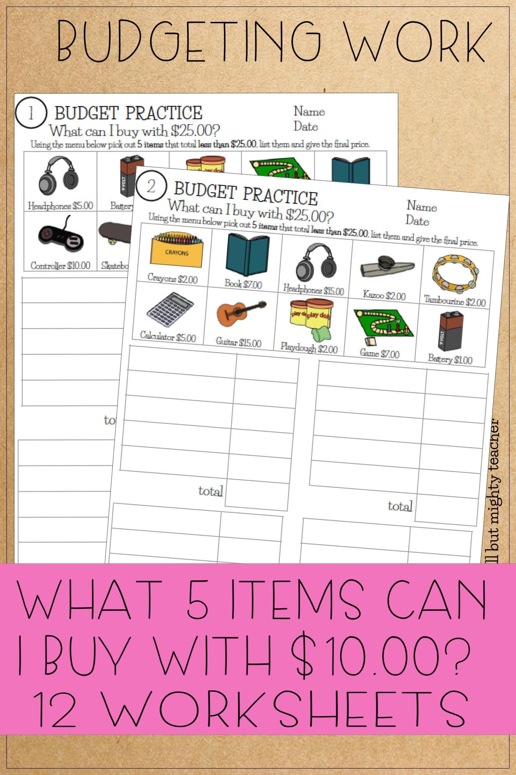 Budget Math Worksheets To 25 Money Worksheets Self Esteem Worksheets Budgeting [ 2500 x 1666 Pixel ]