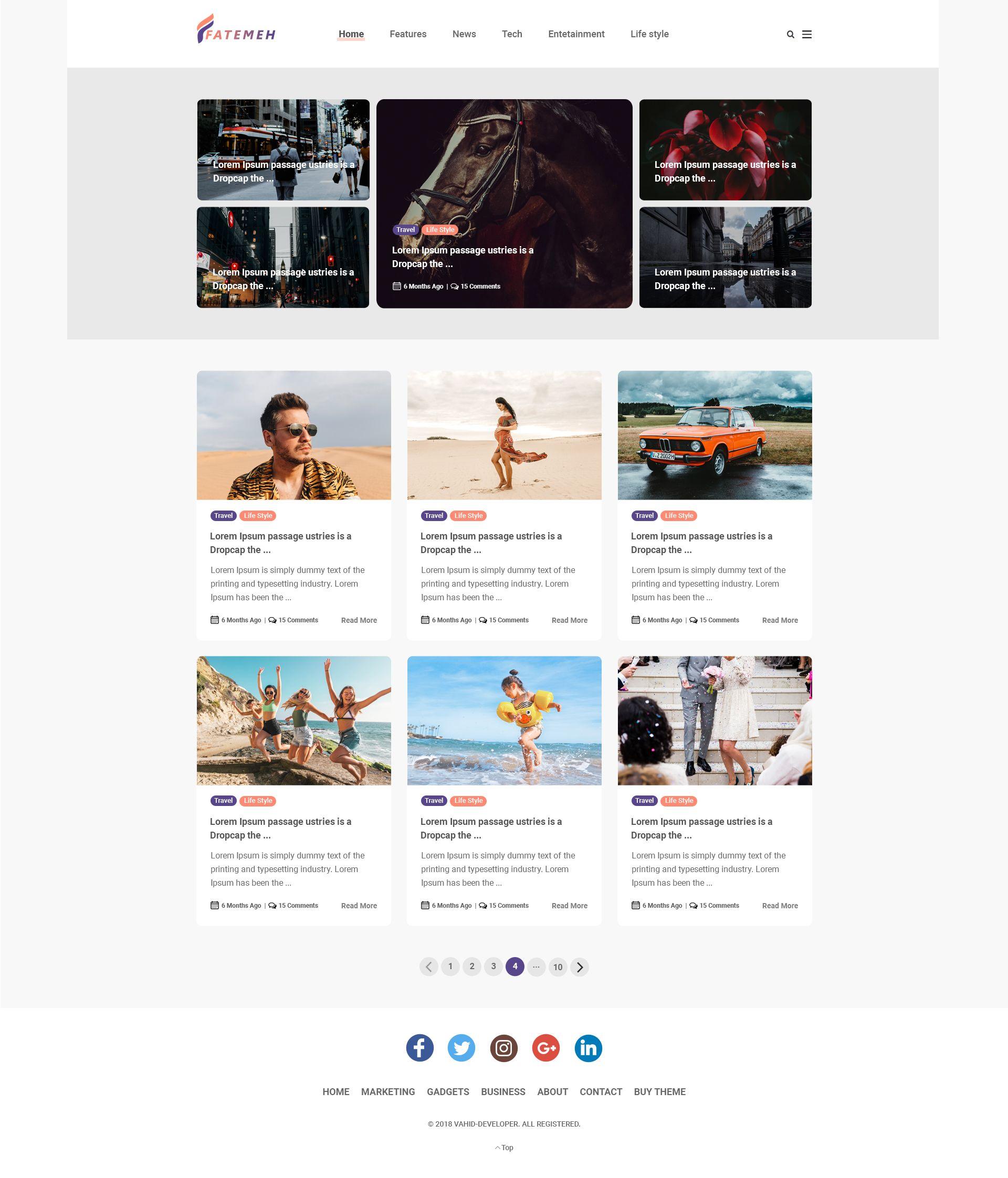 Minimal Responsive Website Template Psd For Free Download: Responsive Modern Minimal Blog #Ad #Responsive