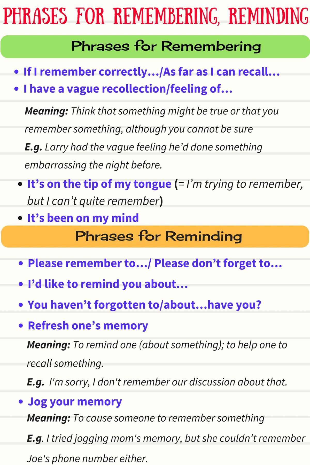 Common Expressions For Forgetting Amp Remembering And