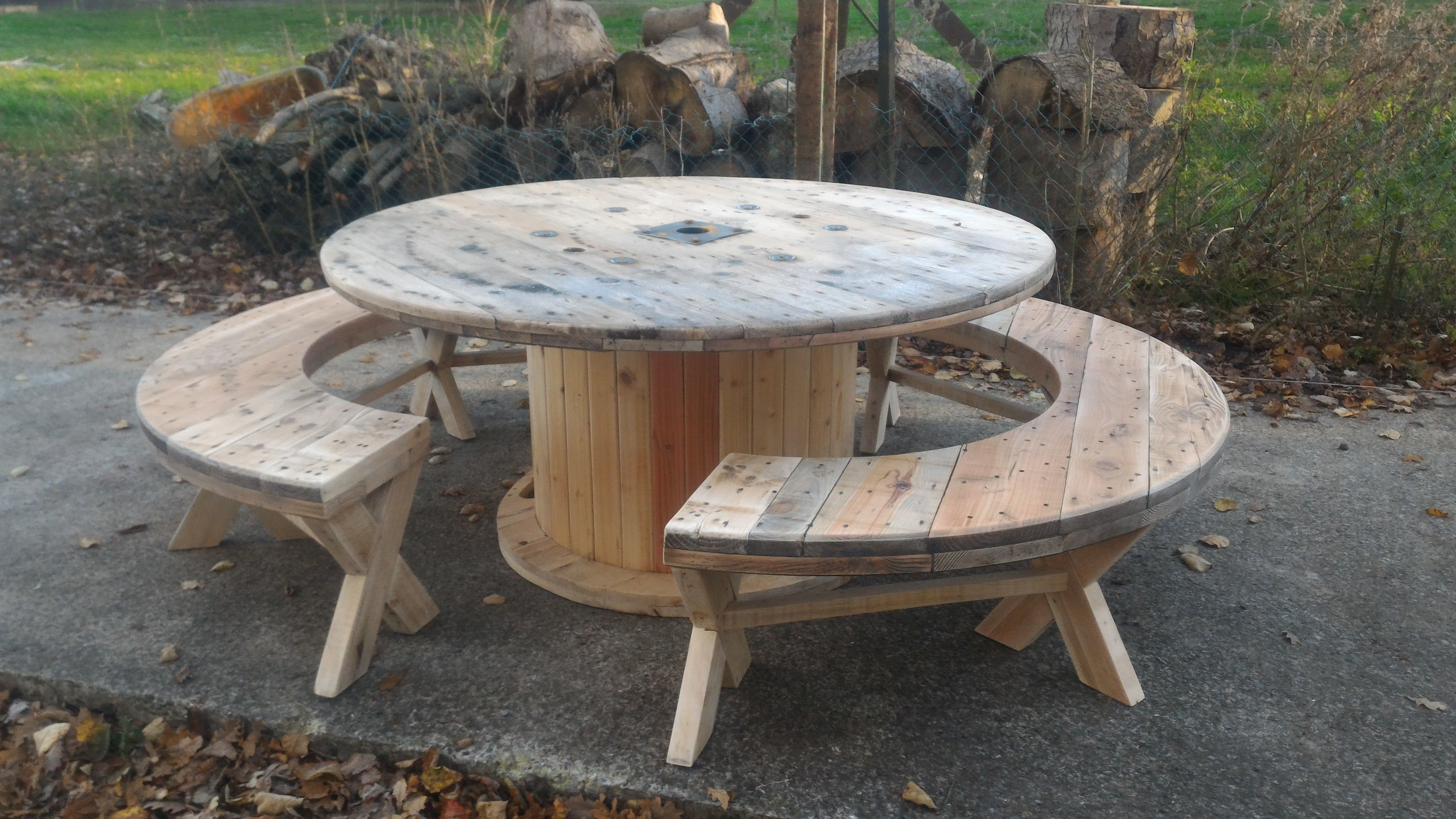 Table Touret 160cm Avec Ses Bancs Cuisine Verriere Idee Deco Palette
