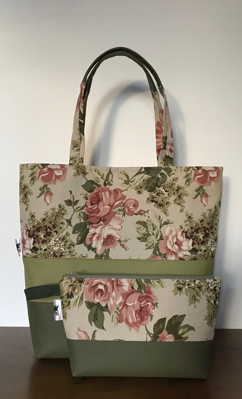 Womans Shoulder Bag Khaki Roses Flowers Beige Diy Bags