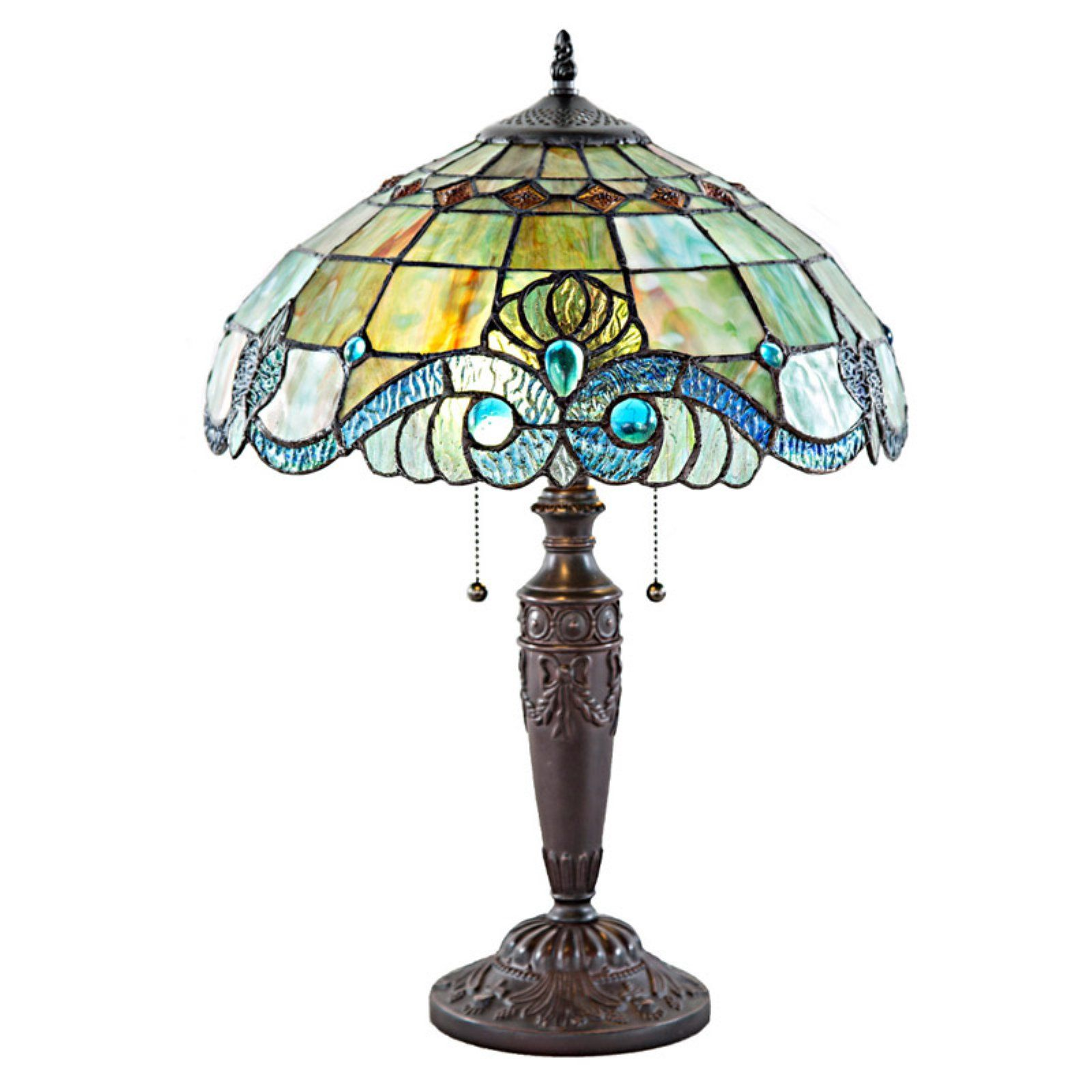 River Of Goods Tiffany Vivaldi Table Lamp Green Blue Amber Lamp