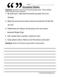 Quotation Marks Worksheet 1 | Quotation mark, Worksheets and ...