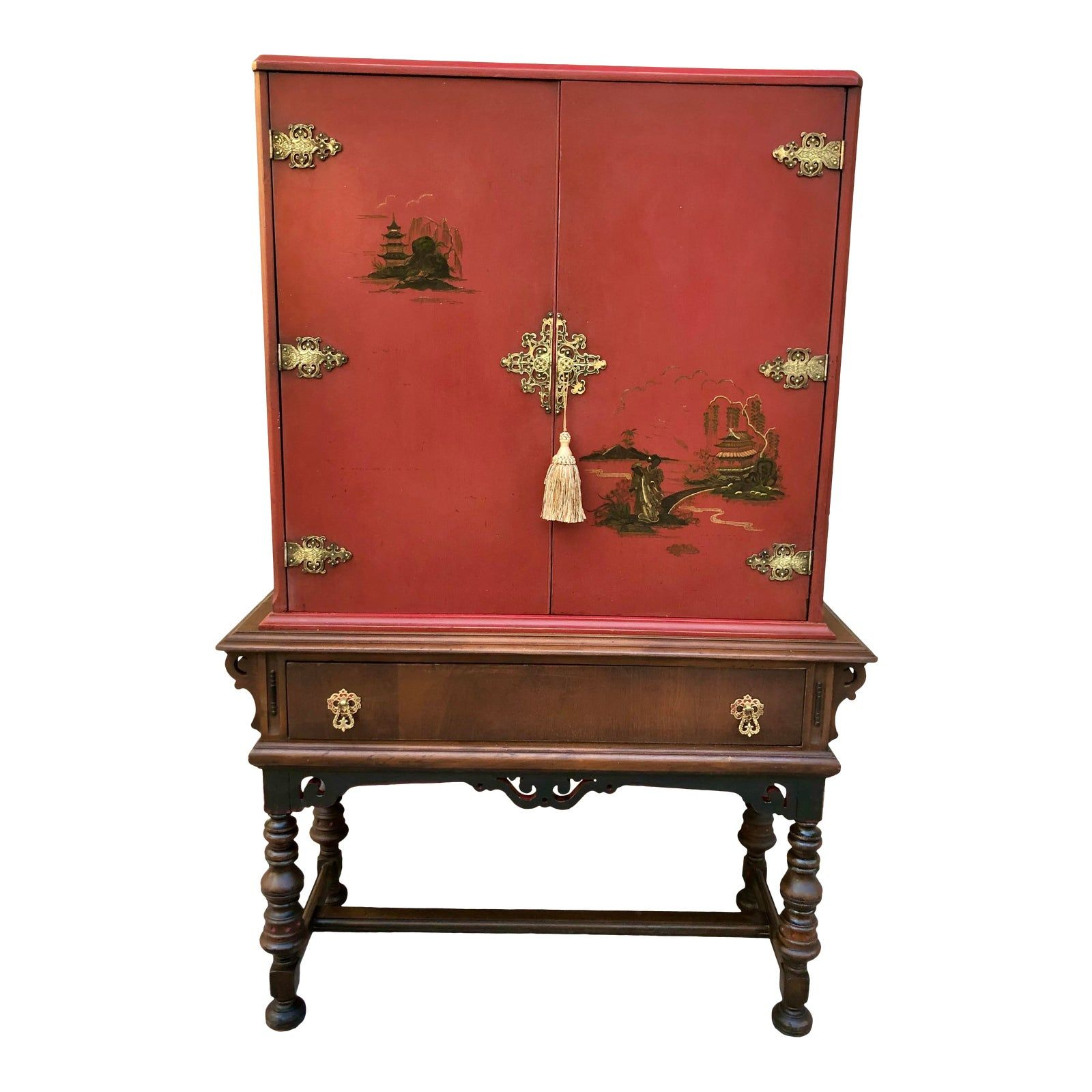 Final Markdown Chinoiserie Bar Or Wine Cabinet In 2020 Wine Cabinets Red Cabinets Antique Cabinets
