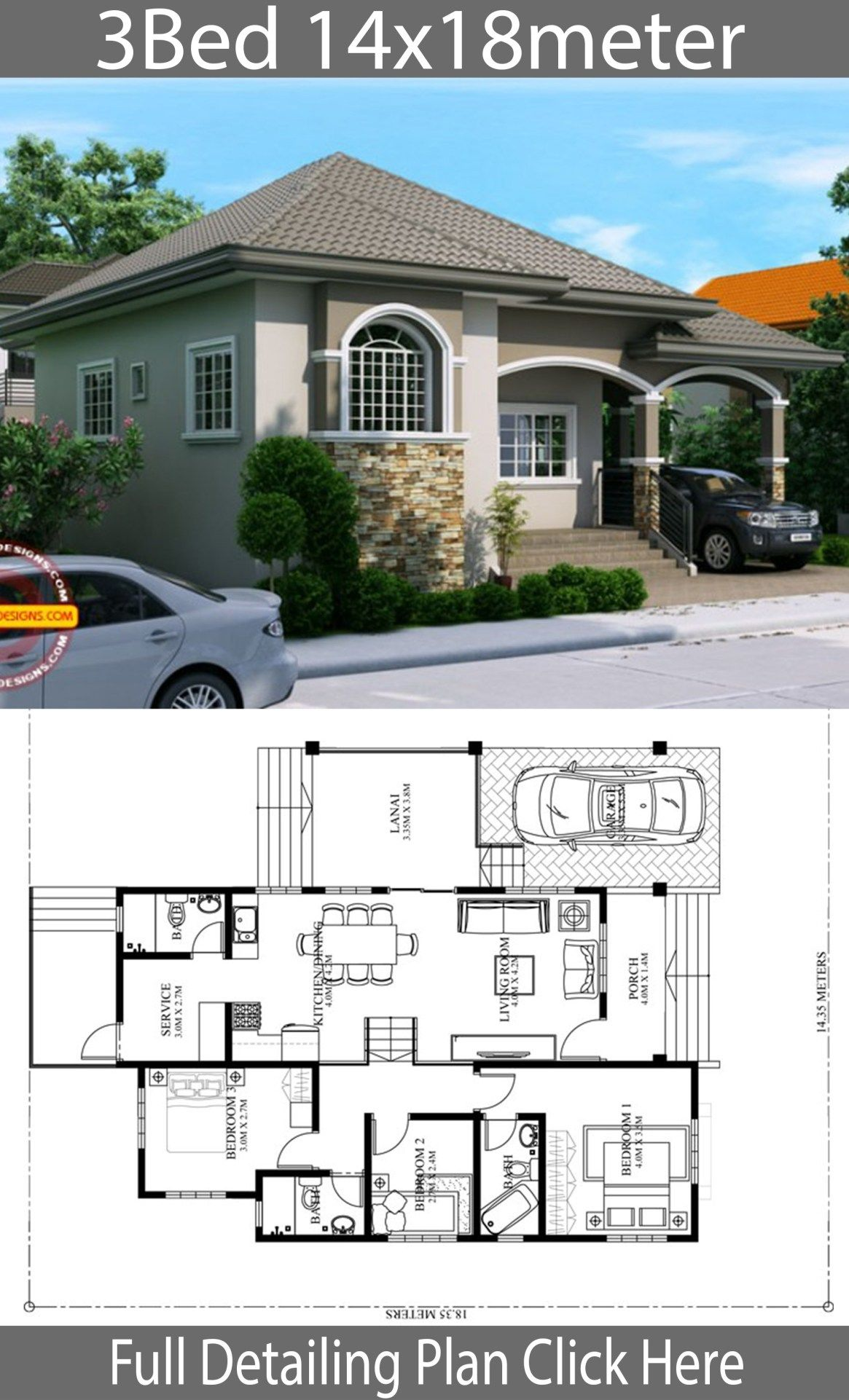 Home Design Plan 14x18m With 3 Bedrooms Home Design With Plansearch Model House Plan Bungalow House Floor Plans Bungalow House Design