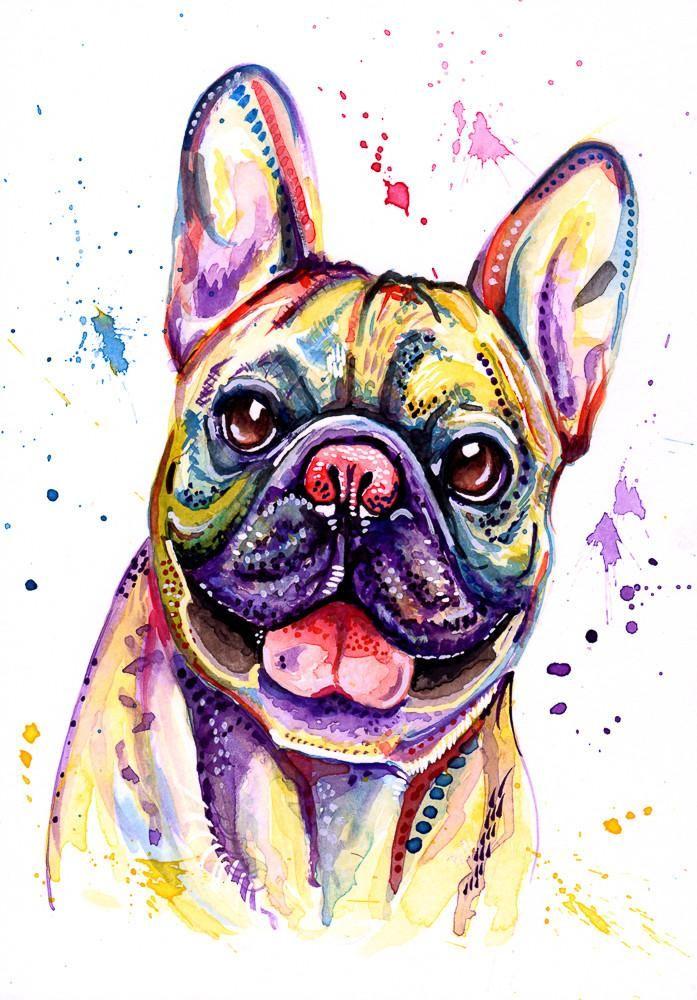 French Bulldog Art Prints 'Happy Face!' Size