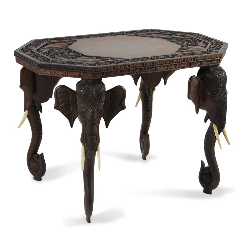 Carved Elephant Table - Anglo Indian | Indian Interlude ...
