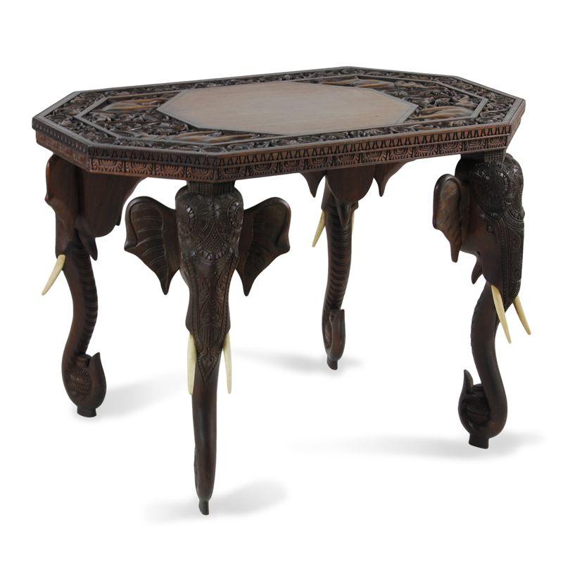 Carved elephant table anglo indian elephant home decor