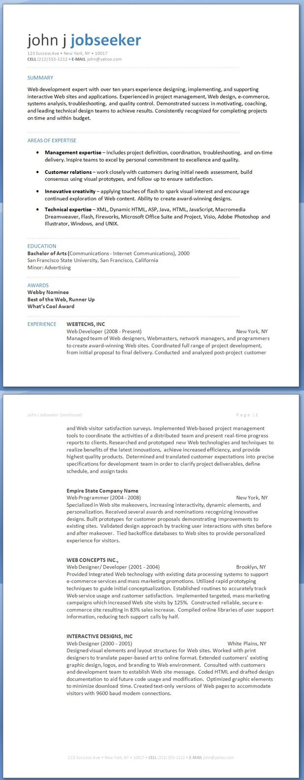 Web Developer Resume  My Goal  Mycarreer
