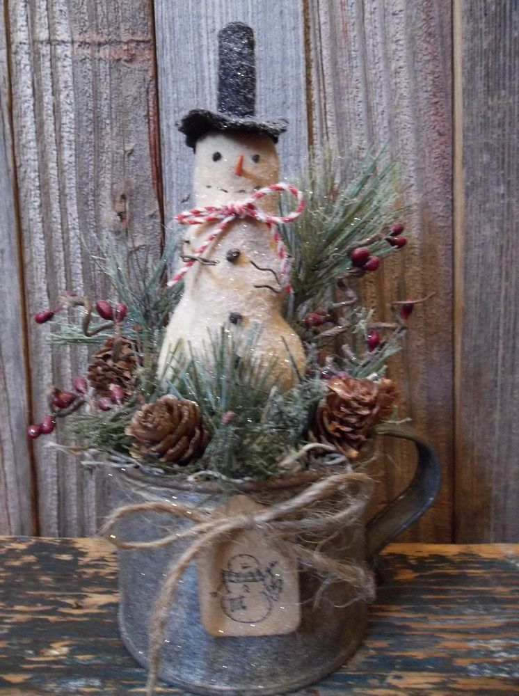 Primitive Winter Holiday Decoration Snowman In Old