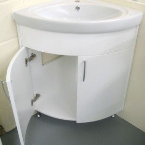 Corner Vanity Unit For Bathroom White Ceramic Sink And Cabinet