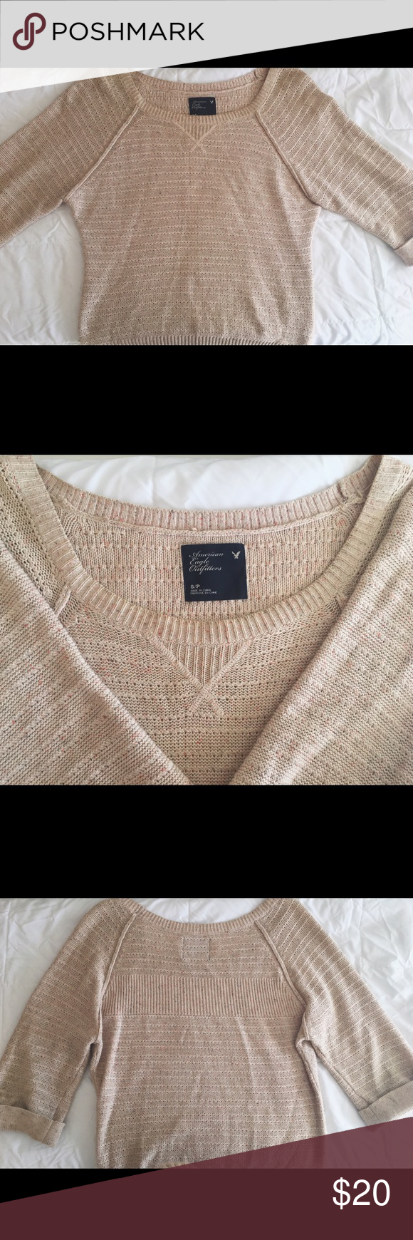 American Eagle Oatmeal Sweater Three-quarter sleeves. Soft, knitted fabric. Tan, oatmeal color with hints of pink. Lightly worn. American Eagle Outfitters Sweaters Crew & Scoop Necks