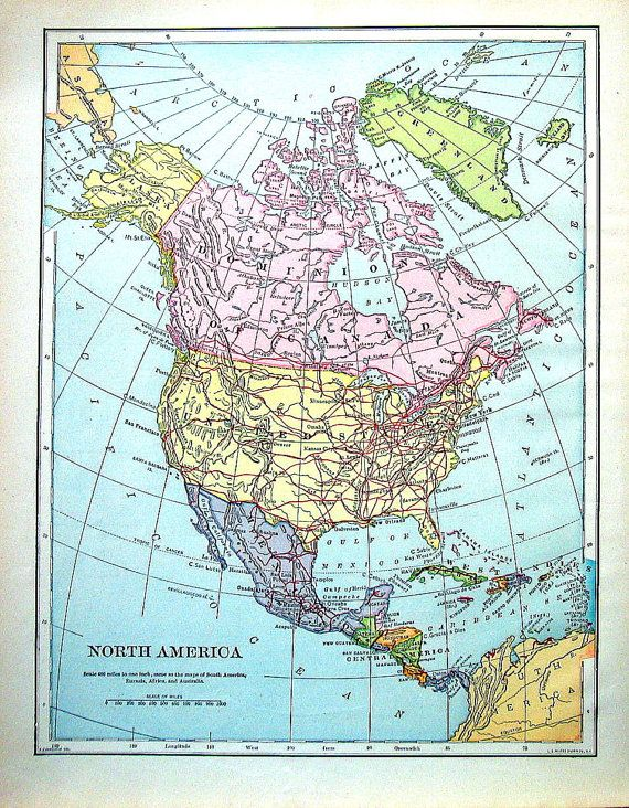 North america map antique map 1907 book page from world atlas 12 north america map antique map 1907 book page from world atlas 12 x 10 gumiabroncs Gallery