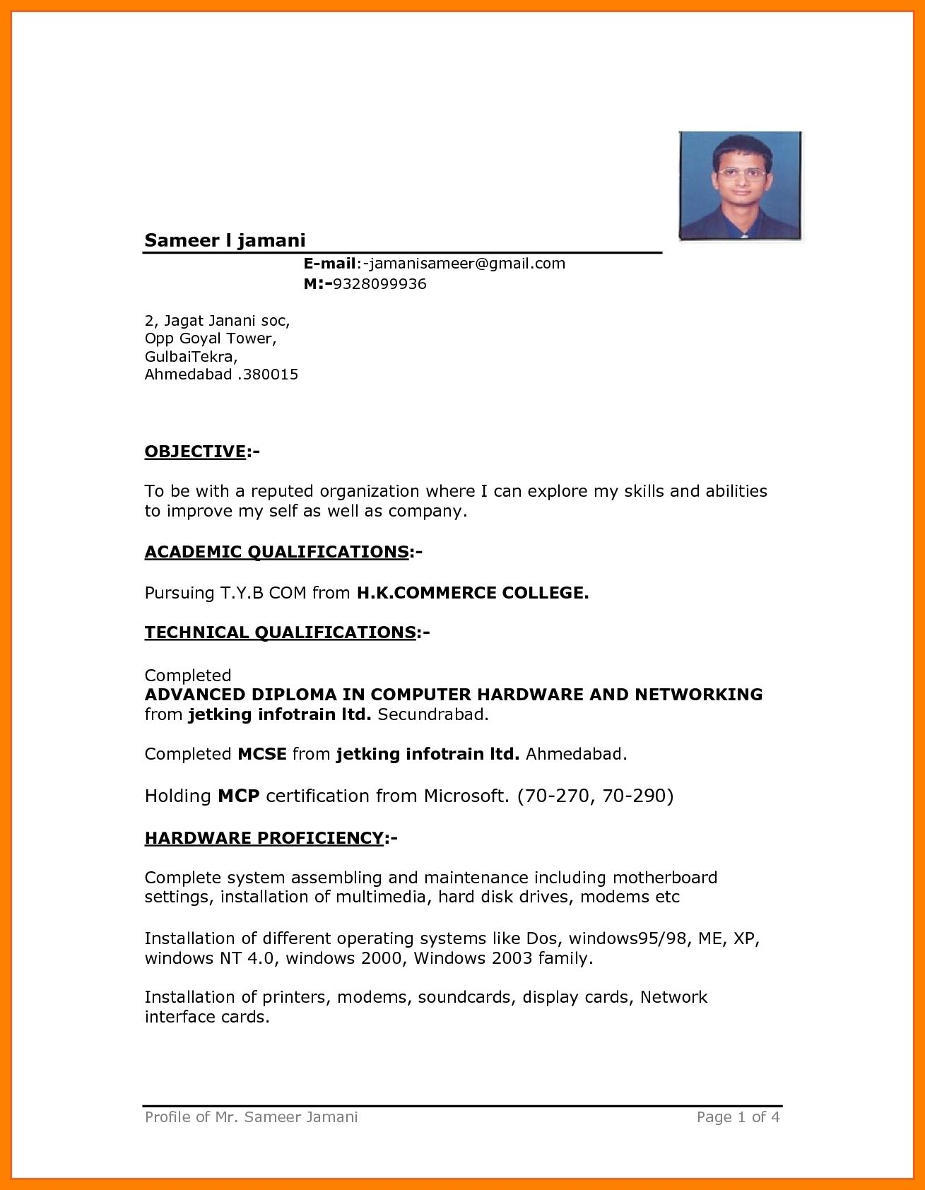 11+ Free Simple Resume Format Download in 2020