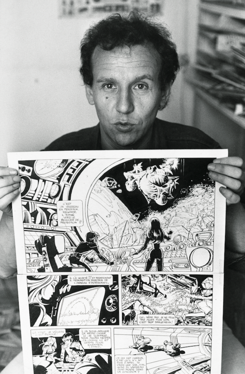 Jean-Claude Mézières with a page of Valérian and Laureline, the popular,  long