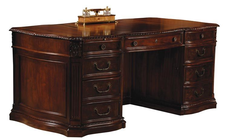 Delightful Solid Wood Executive Desk Old World Walnut Burl By Hekman Furniture    1 800 460 0858   Free Shipping   Office Furniture 2go.com