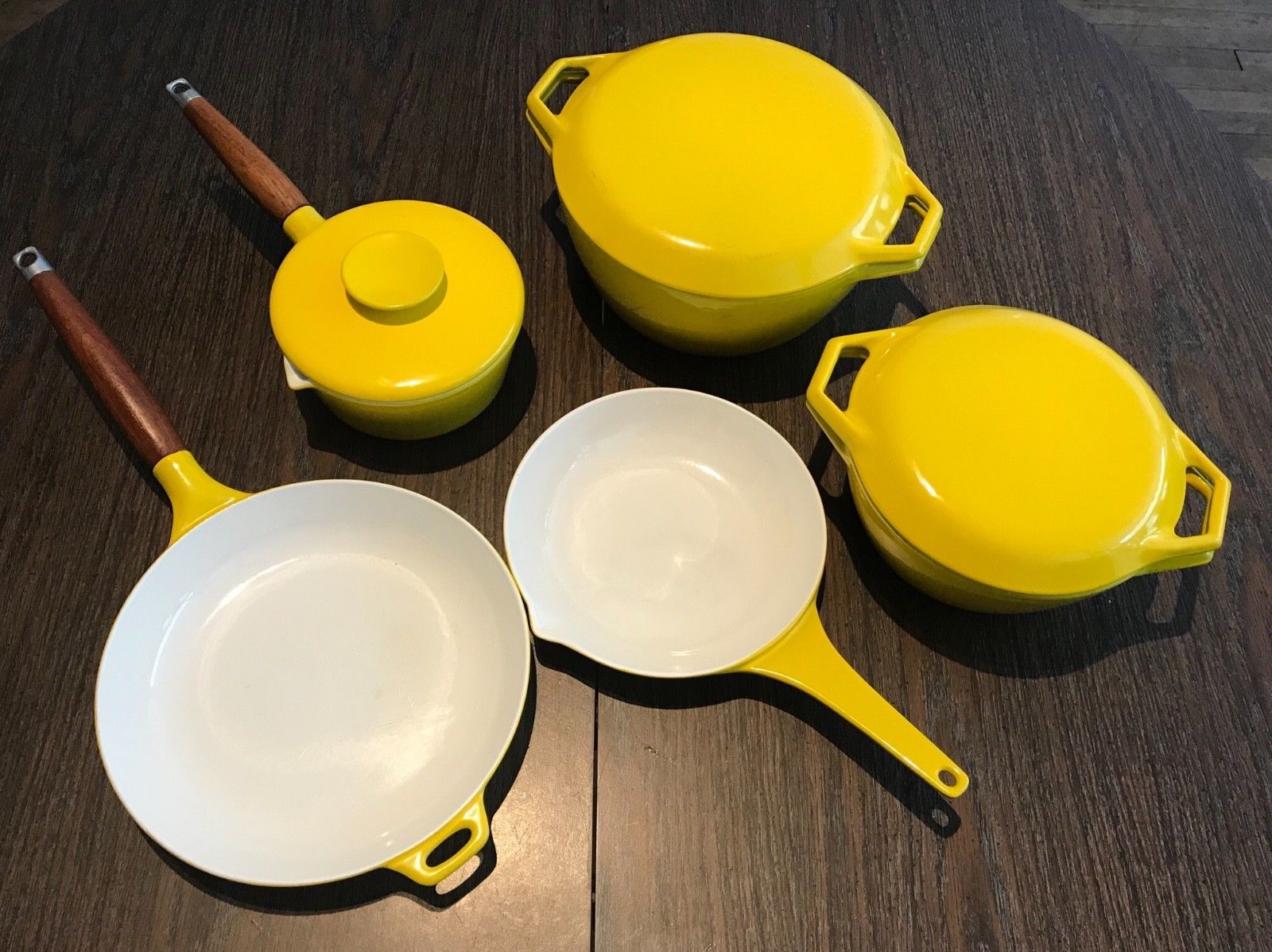 Great Swank 5 Piece Set Of Copco Denmark Cookware Manufacturer Copco Denmark There Is Life Wear Sauce Pot With L Vintage Cookware Yellow Enamel Cookware