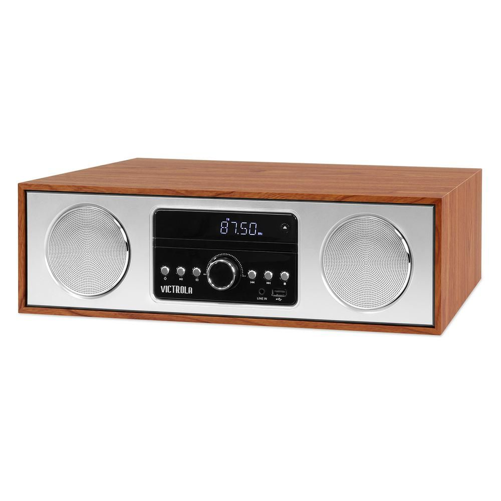 6-in-1 Wood Bluetooth Mid Century Record Player with 3-Speed