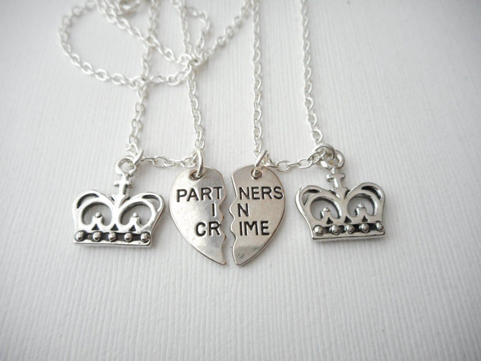 2 partners in crime crown best friend necklaces bff