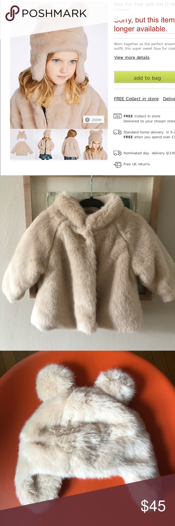 b6792c71a Marks and Spencer Baby Girl Faux Fur Coat with Hat A very pretty set ...
