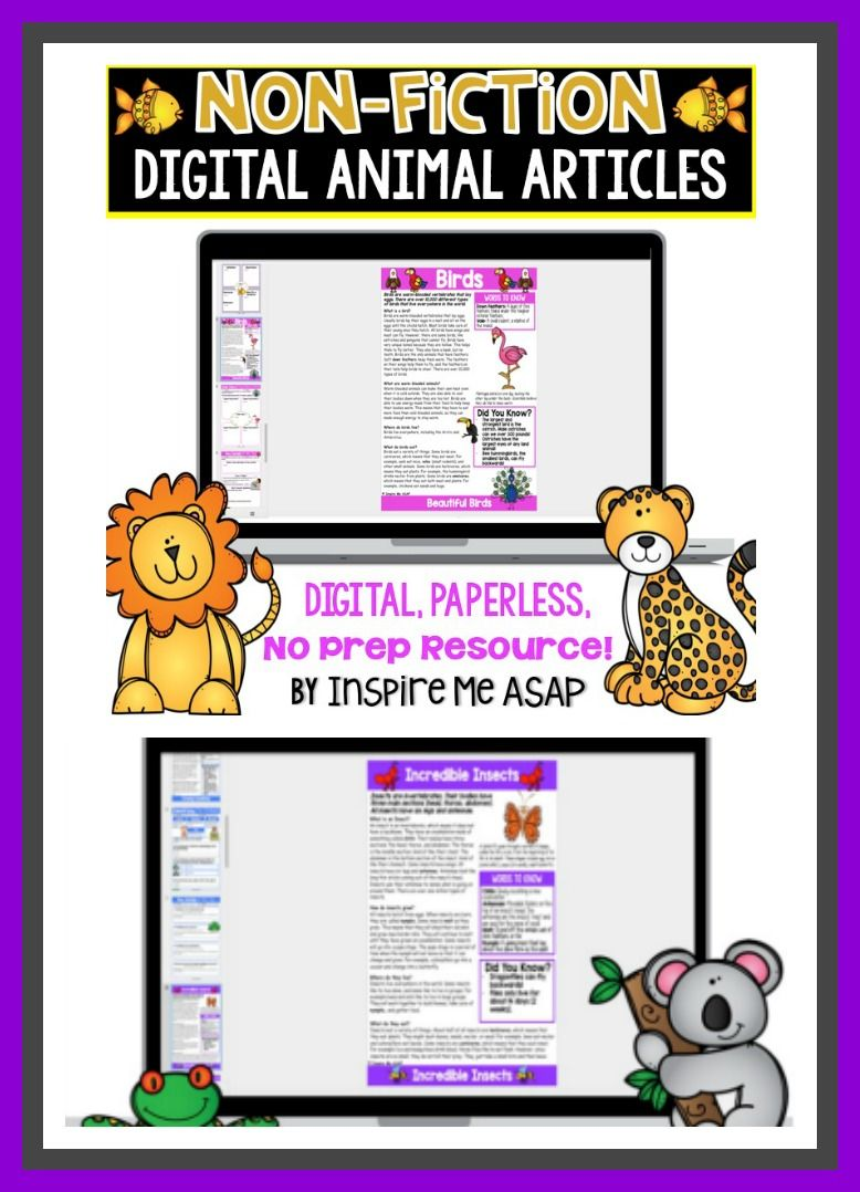 Looking for engaging non-fiction animal articles and comprehension checks for your students to read digitally, while using Google Slides? This digital, paperless resource includes 7 non-fiction, or informational text, articles about different animal classifications. There is a total of 22 digital slides, plus detailed directions (over 10 pages) for the teacher.