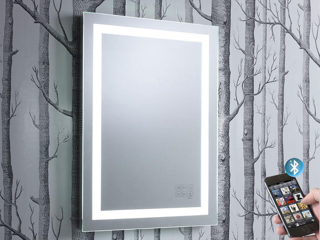 Encore Illuminated Bluetooth Bathroom Mirror With Speakers