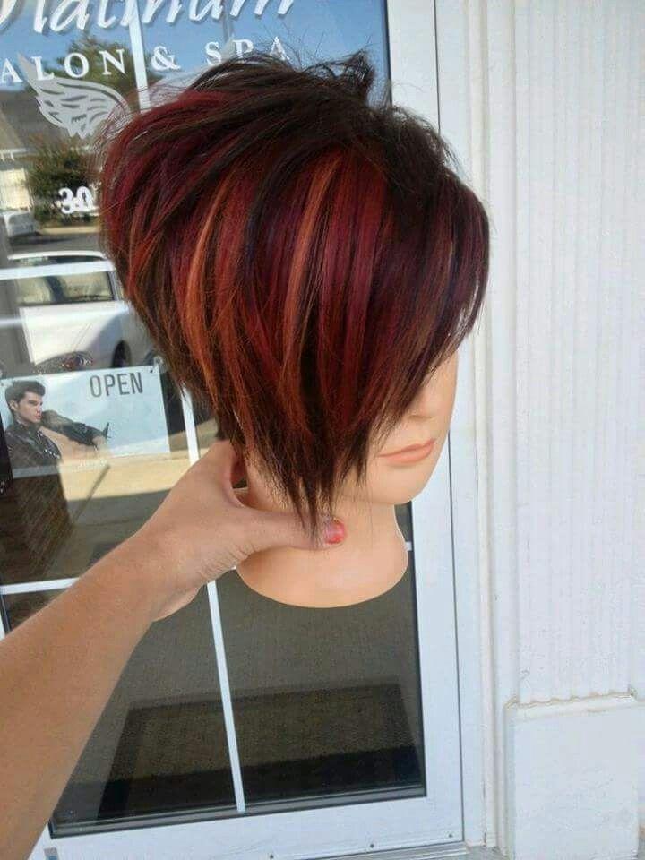 Short Red And Asimetrical Hair Style Sa Tarz Pinterest