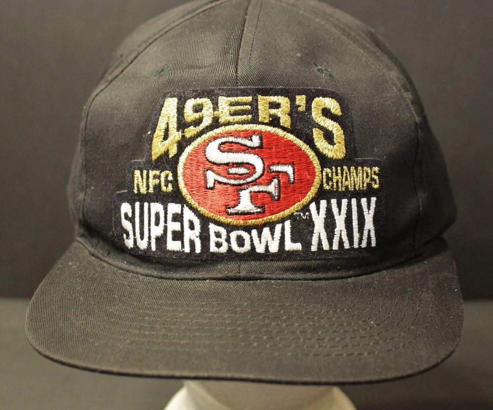 3ac3e9225 Vintage San Francisco 49ers Snapback Hat Cap NFC Champs Superbowl XXIX Retro   Sportsman  BaseballCap