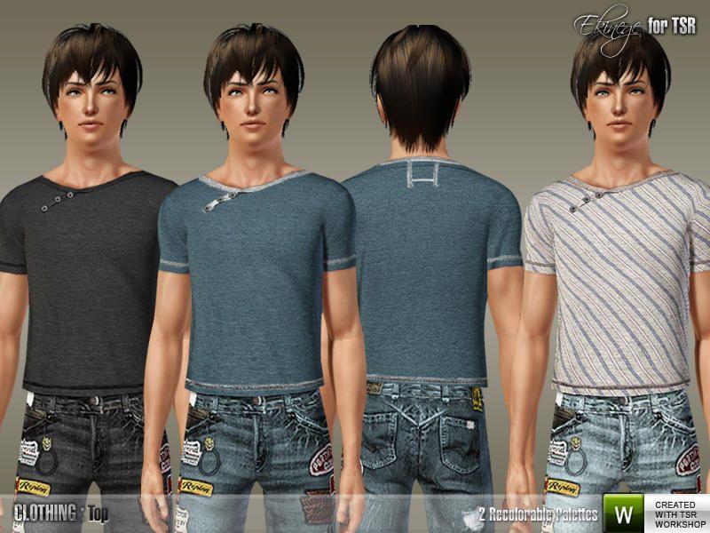 Ekinege - Y-Neck T-Shirt - S36