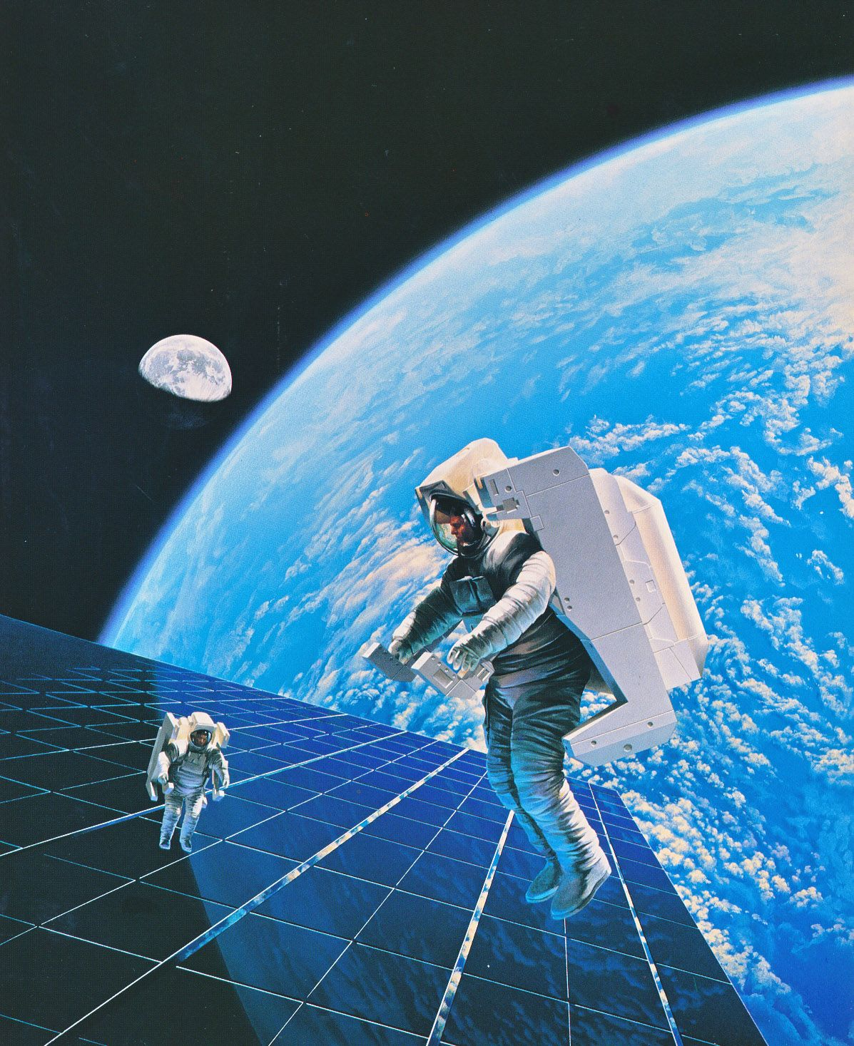 Painting by Pamela Lee 'Astronaut with MMU Above Solar