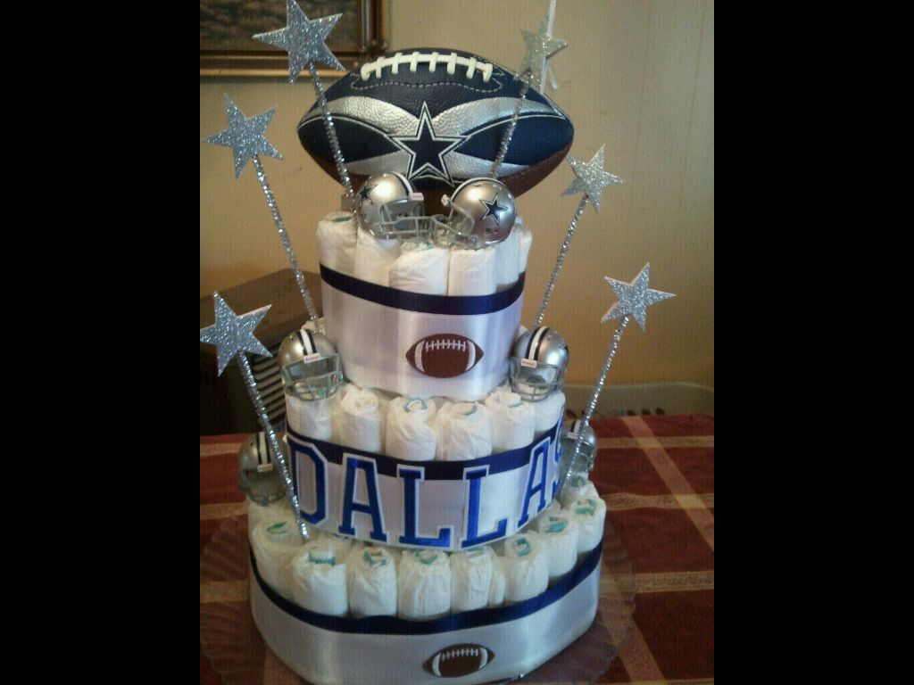 Couples Baby Showers · Dallas Cowboy Diaper Cake!