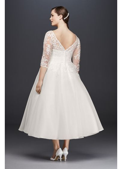 Tulle Plus Size Tea-Length Wedding Dress 9WG3857 | Formalware ...