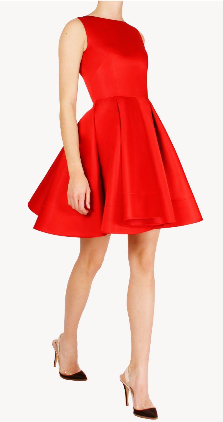 d00ac585bc Alquiler Vestido corto Ruth rojo con falda de vuelo